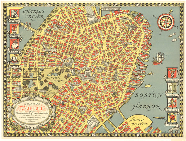 A Map of Old Boston ... By: Capron Date: 1929 (Dated) Boston Size: 18.25 x 24.5 inches - vintage, map, Boston, New England, Massachusetts, East Coast