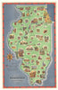 Scenic and Historic Illinois By: Rand McNally & Co. Date: 1949 (Copyright) Chicago Size: 33.5 x 21 inches - vintage, map, Illinois, Chicago, state parks