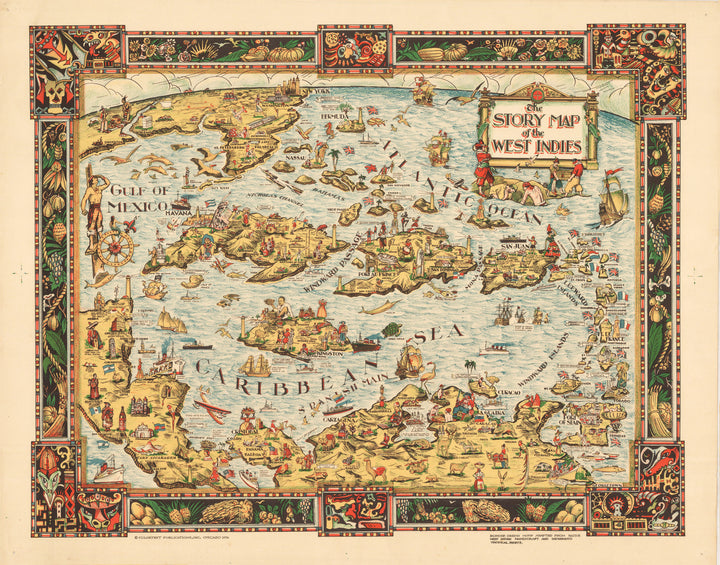 The Story Map of the West Indies By: Colortext Date: 1936 (Published) Chicago 12 x 15.25 inches