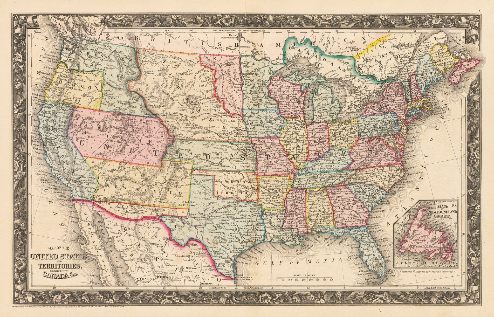 Map Of The United States And Territories Together With Canada - Us map 1861