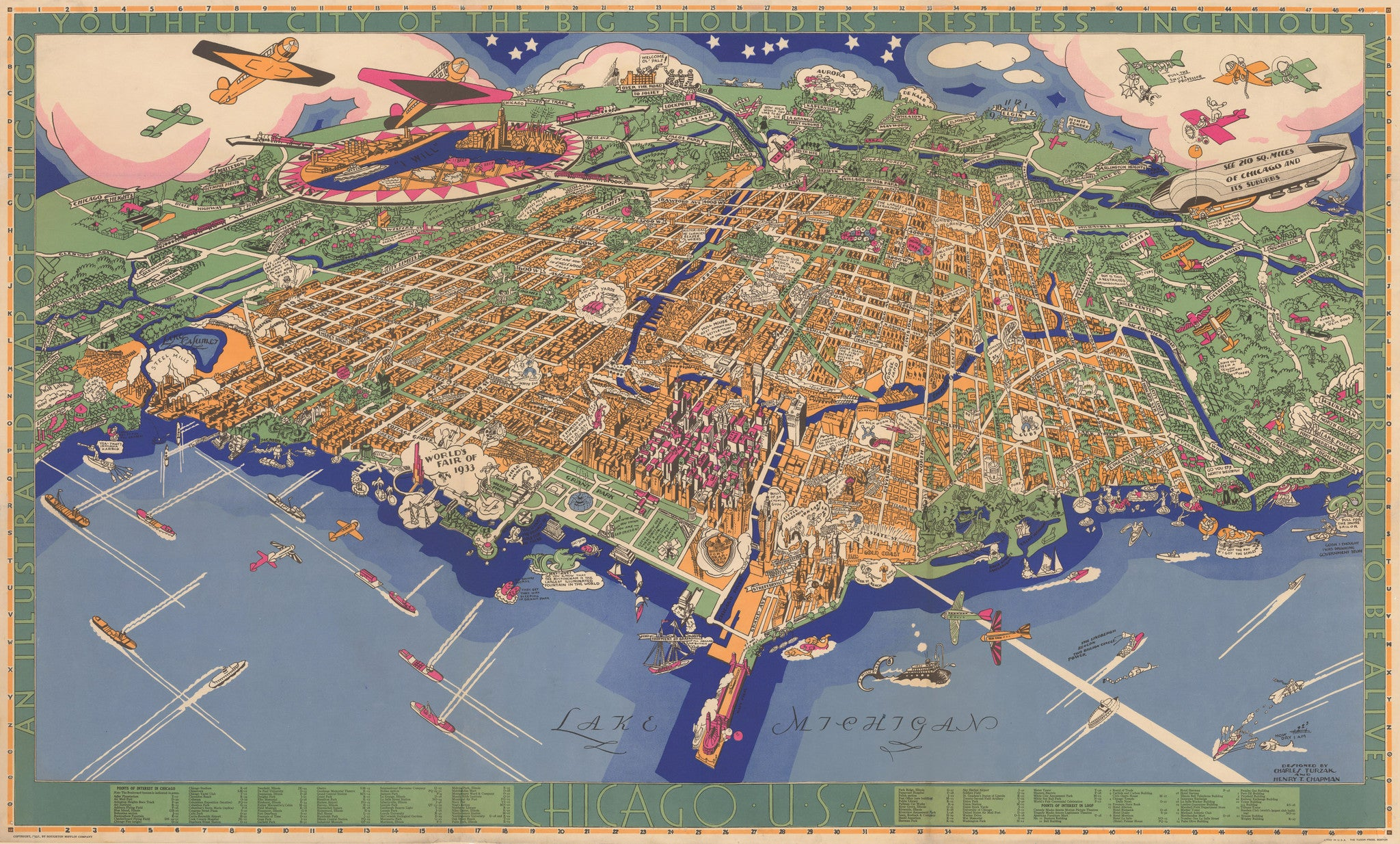 1931 An Illustrated Map of Chicago the Vintage Map Shop Inc
