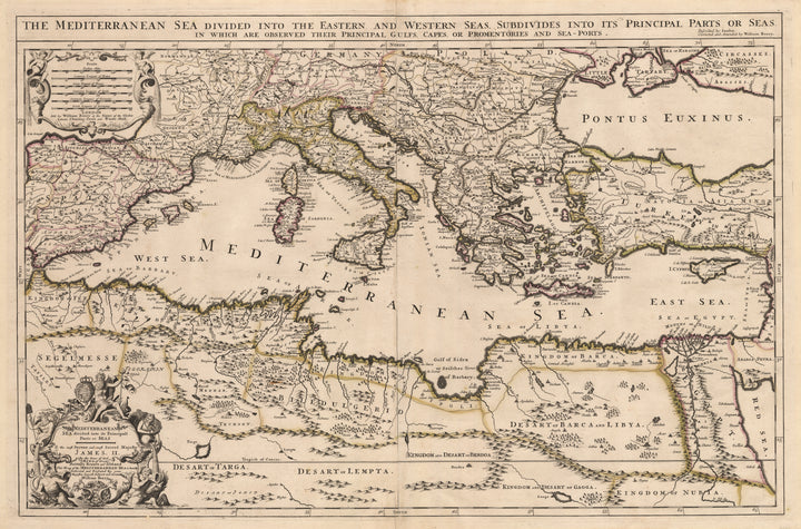 Mediterranean Sea divided into its Principall Parts of Seas by: William Berry 1685