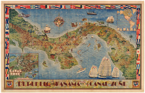 1940 Pictorial Map of the Republic of Panama with the Canal Zone