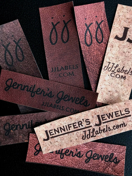 30 labels in cork or leather design for sewing on/in or choose iron on