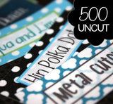 UNCUT 500 Custom Printed Poly Cotton Labels