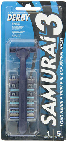 Derby Samurai 3 Triple Blade, Non-Disposable Razor w/ 5 cartridges