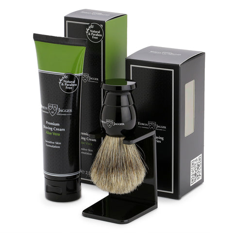 Edwin Jagger Ebony Shaving Brush and Aloe Vera Shaving Cream Gift Set GS214SCAVT
