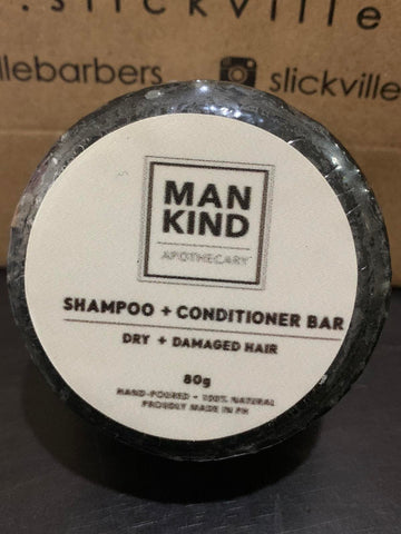 Mankind Apothecary Shampoo Bar + Conditioner Activated Charcoal for Dry and Damaged Hair 80g