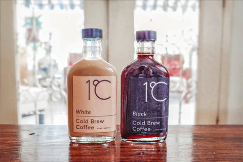 White and black cold brew coffee