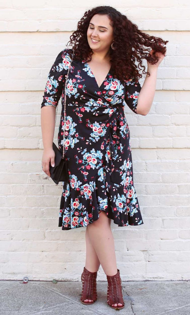 Flounce Wrap Dress