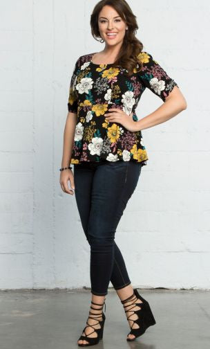 Trend Essential  Blouses Ladies 0X (10-12) / FLOWERS AT MIDNIGHT Floral Penny Péplum Top
