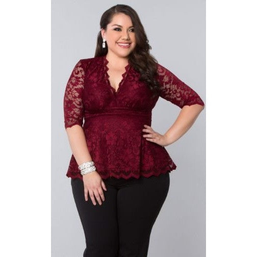 Trend Essential  Blouses Ladies 1X (14-16) / PINOT NOIR Lace Top Linden