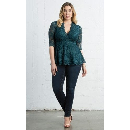 Trend Essential Blouses Ladies 1X (14-16) / TEAL ABYSS Lace Top Linden
