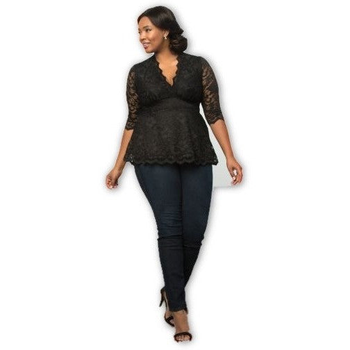 Trend Essential  Blouses Ladies 3X (22-24) / BLACK LACE / BLACK LINING Lace Top Linden