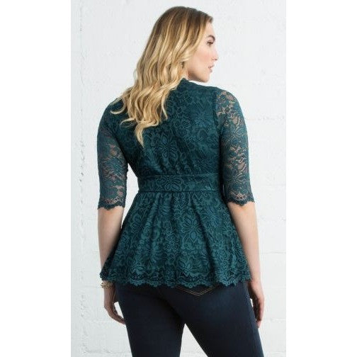 Trend Essential  Blouses Ladies 4X (26-28) / TEAL ABYSS Lace Top Linden