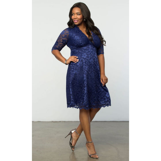 Trend Essential Plus Sizes, Dresses + 0X(10-12) / DarkBlue Lace Trendy Special Occasion Mademoiselle Cocktail Dress