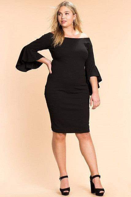 Oberlo Black / XXL Trendy Ruffle Sleeve Party Dresses