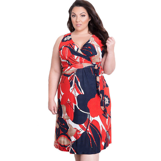 Oberlo Dress Trendy Fashionable Plus Size Casual V-neck Knee-Length Dress