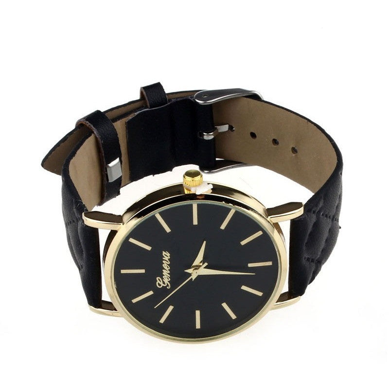 Oberlo watches Black Trendy Faux Leather AnalogQuartz Wrist Watch