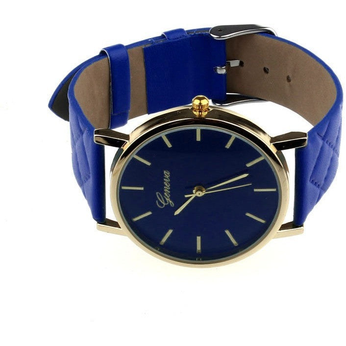 Oberlo watches Blue Trendy Faux Leather AnalogQuartz Wrist Watch