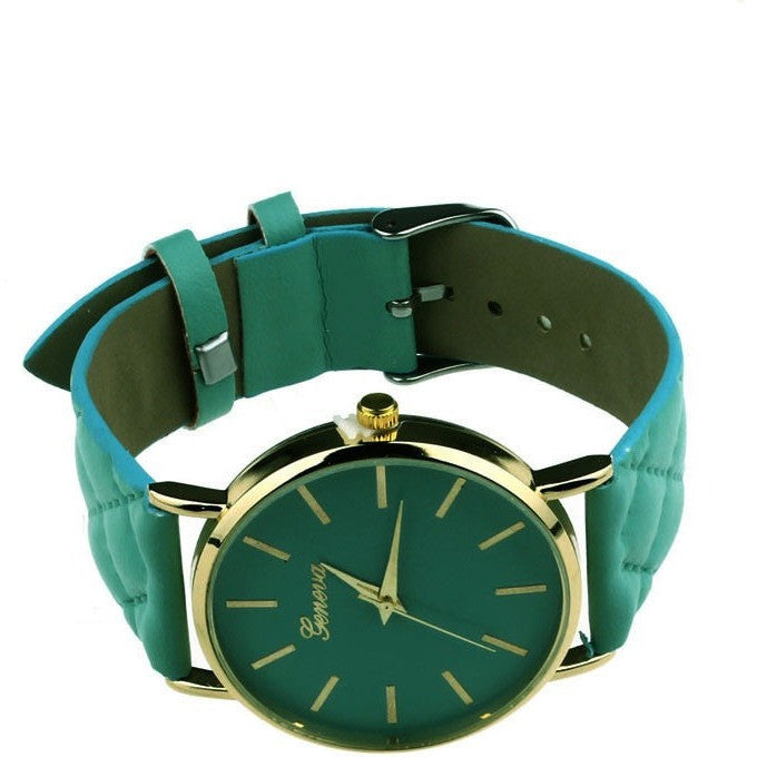 Oberlo watches Green Trendy Faux Leather AnalogQuartz Wrist Watch