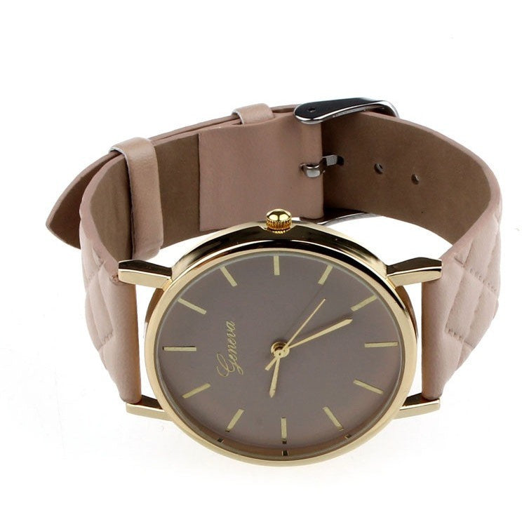 Oberlo watches Khaki Trendy Faux Leather AnalogQuartz Wrist Watch