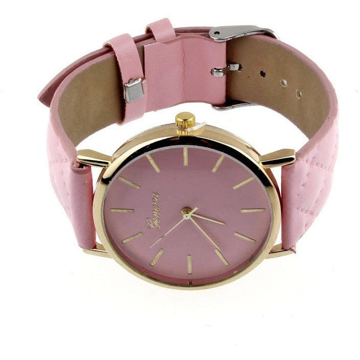 Oberlo watches Pink Trendy Faux Leather AnalogQuartz Wrist Watch