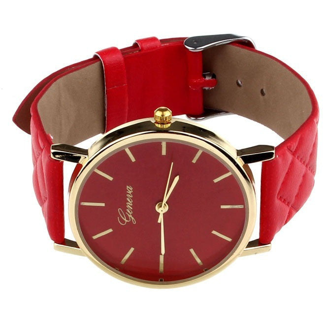 Oberlo watches Red Trendy Faux Leather AnalogQuartz Wrist Watch