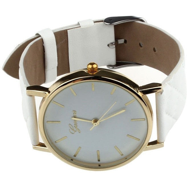 Oberlo watches White Trendy Faux Leather AnalogQuartz Wrist Watch