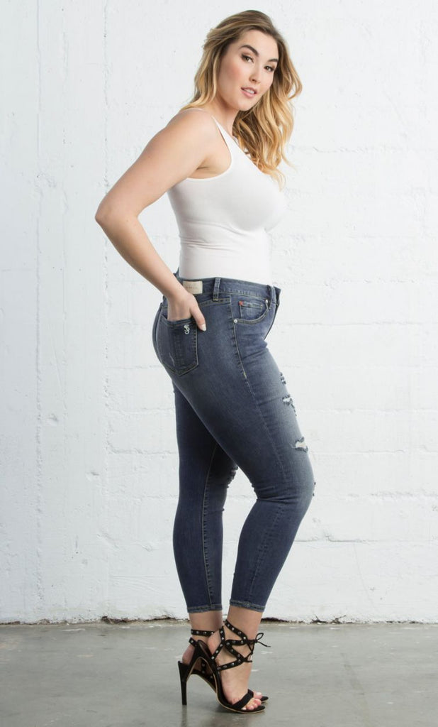 Ankle Slim Jegging in Danika Wash by Slink Jeans