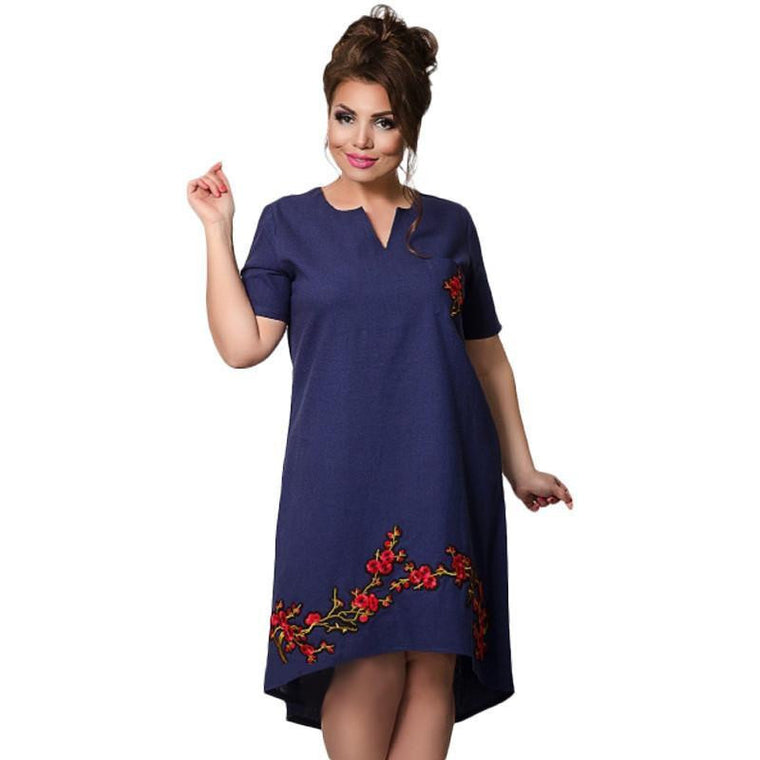 Trendy Floral V-Neck Dress with Embroidery