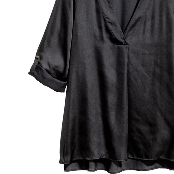Black Casual Blouse Sexy V-neck  Long Sleeve Loose Shirts