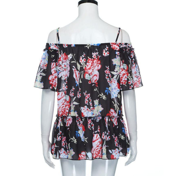 Blouse Flower Prints  Off Shoulder straped