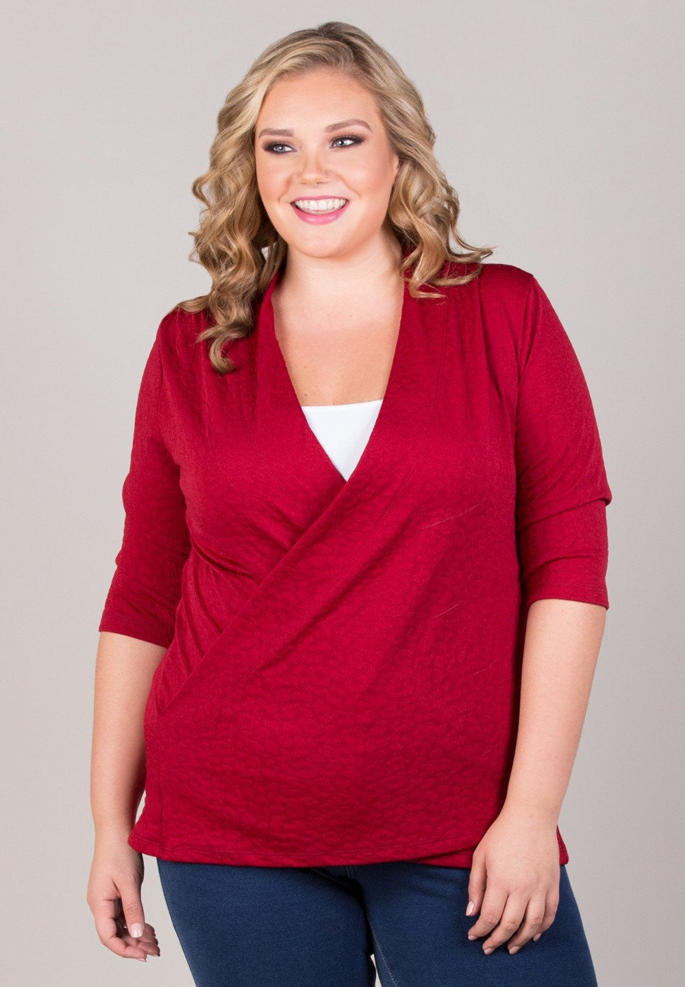 Trend Essential Plus Sizes, Tops + 1X / RUBY Trendy Gorgeous CAMILLE FAUX WRAP TOP