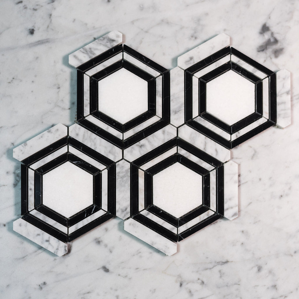 CARRARA + NERO + THASSOS / TRILOGY HEXAGON