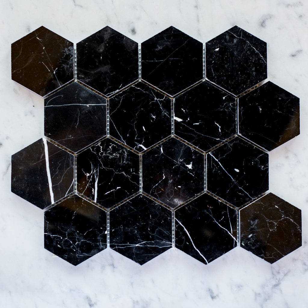 NERO MARQUINA / HEXAGON 80MM