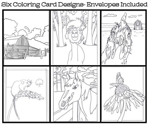 Farm Life - Coloring Card Set (6 Cards With Envelopes) Set #2