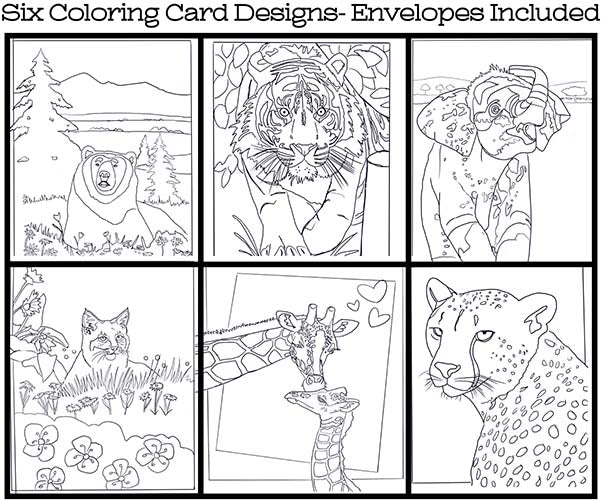 Wild Animals - Coloring Card Set (6 Cards With Envelopes) Set #1 – Bev's  Art Store