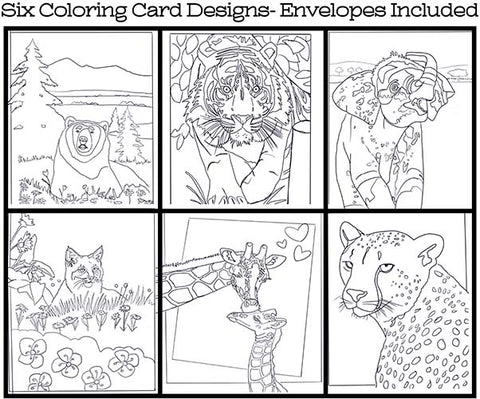 Wild Animals - Coloring Card Set (6 Cards With Envelopes) Set #1