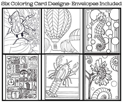 Whimsical Doodles - Coloring Card Set (6 Cards With Envelopes) Set #5