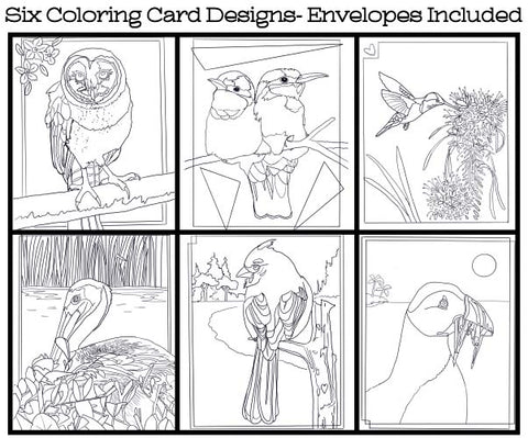Birds - Coloring Card Set (6 Cards With Envelopes) Set #3