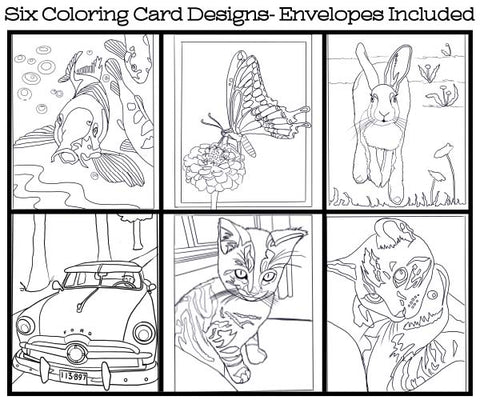Home Scenes - Coloring Card Set (6 Cards With Envelopes) Set #4