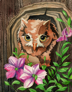 Owl and Clematis