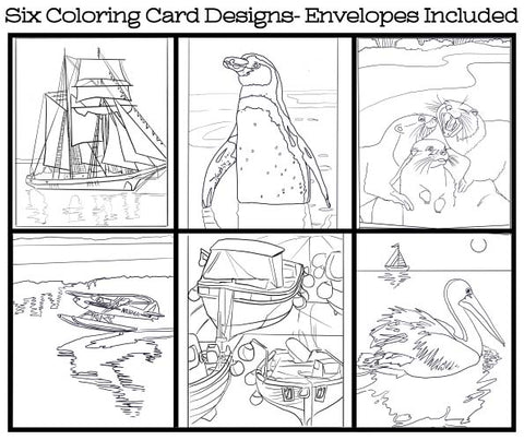 Water World - Coloring Card Set (6 Cards With Envelopes) Set #6