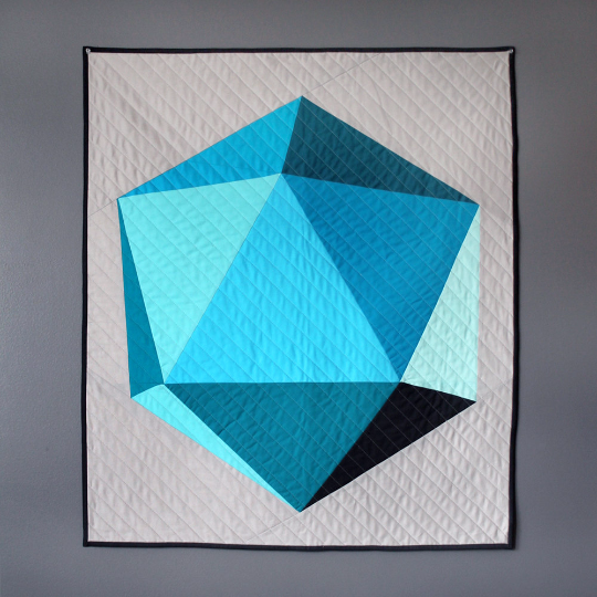 Icosahedron Baby or Toddler Quilt - Blues & Grays
