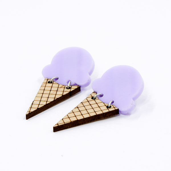 Ice Cream Earrings - Lavender