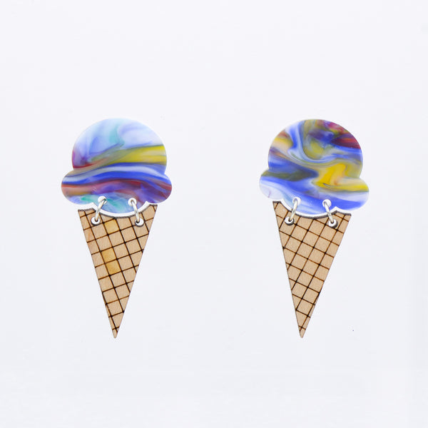 Ice Cream Earrings - Rainbow Marbled