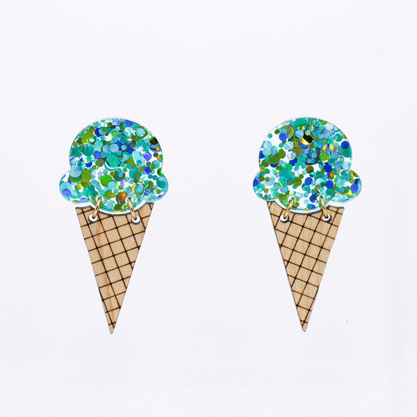 Ice Cream Earrings - Teal Party Glitter
