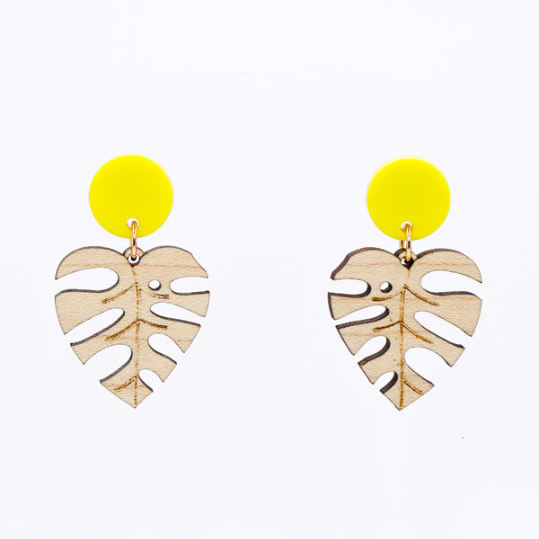 Monstera Leaf Earrings - Yellow & Maple