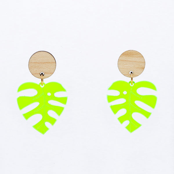 Monstera Leaf Earrings - Maple & Fluorescent Green